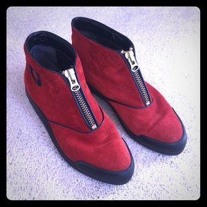 Jourdan Red Suede Rain Ankle Booties